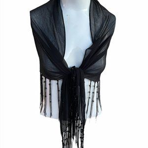 Fringe Shawl Cover Up Sheer Scarf with Beads OS